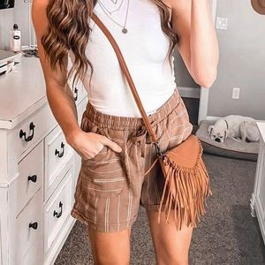 Pants - Brown stripe linen pull waistband women's …